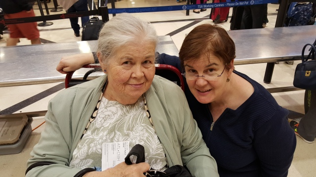 Sallie and Nan at the airport. New Years Eve, 20152016